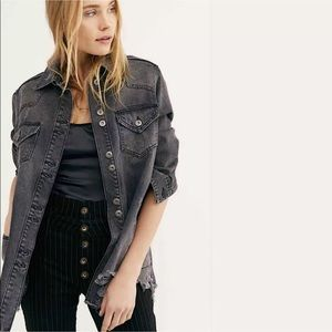 Free People Moonchild Shirt Jacket Distressed M